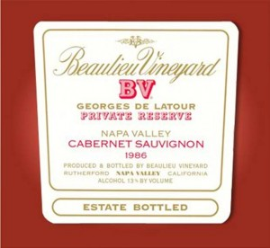 Beaulieu Vineyard Georges de Latour Private Reserve Cabernet Sauvignon 1986