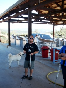 Winemaker Scott Klann & winedog Nacha - Twisted Oak Winery
