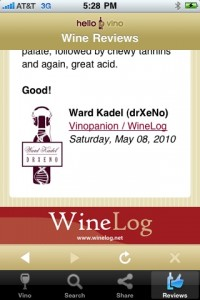 Hello Vino Vinopanion Wine Review Screen Capture