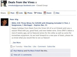 Deals from the Vines - Facebook Group - VinTank